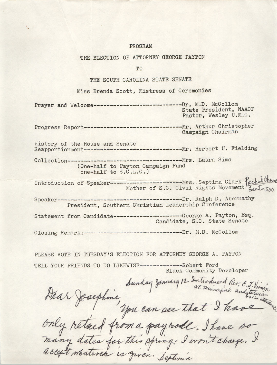 Program for the Election of Attorney George Payton to The South Carolina State Senate