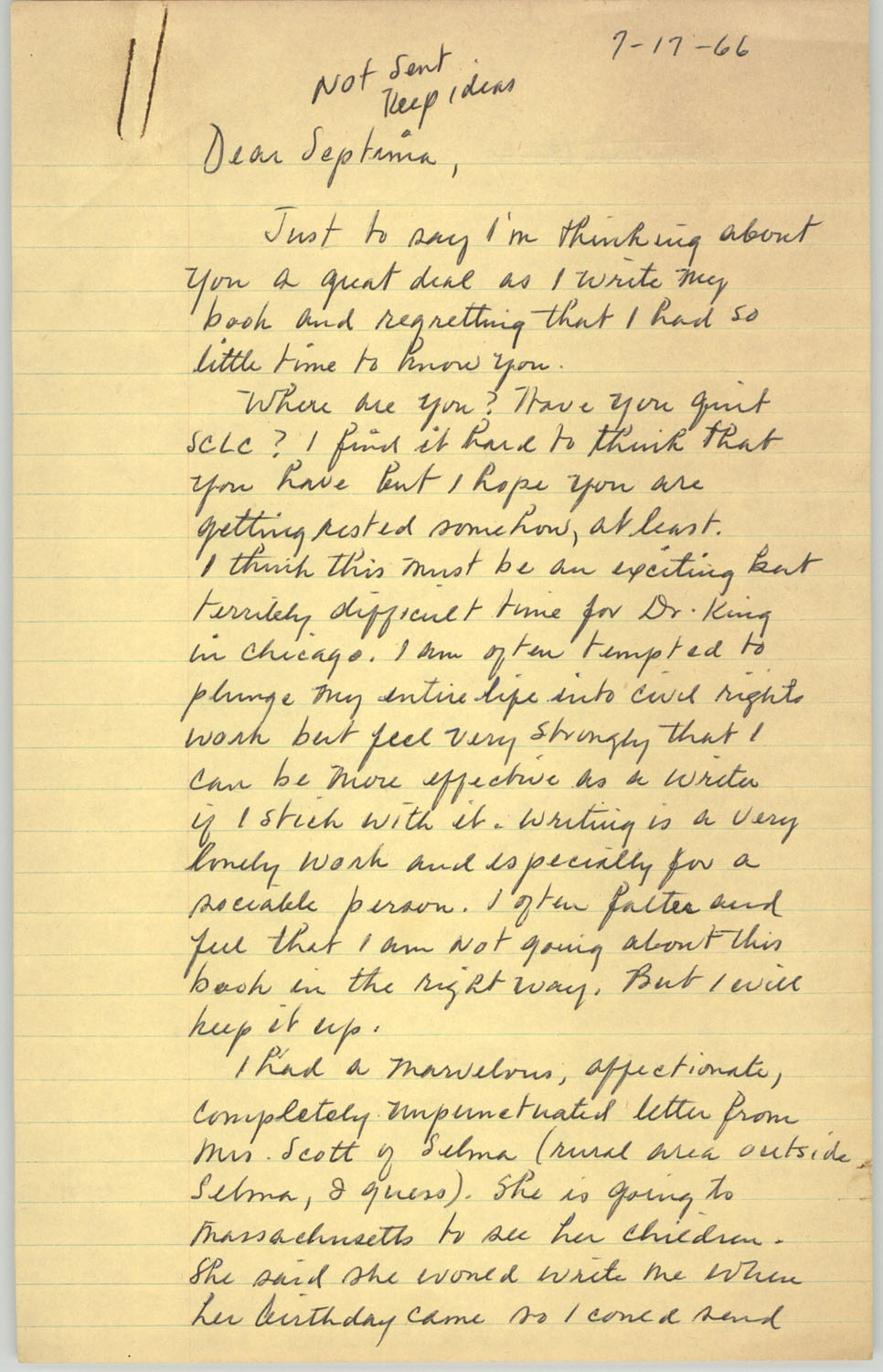 Letter from Josephine Rider to Septima P. Clark, July 17, 1966