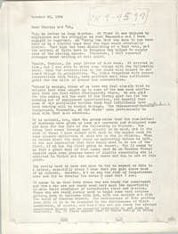 Letter from Vincent Harding, October 20, 1964