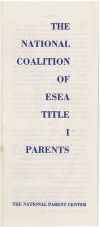 The National Coalition of Elementary and Secondary Education Act Title I Parents, Pamphlet