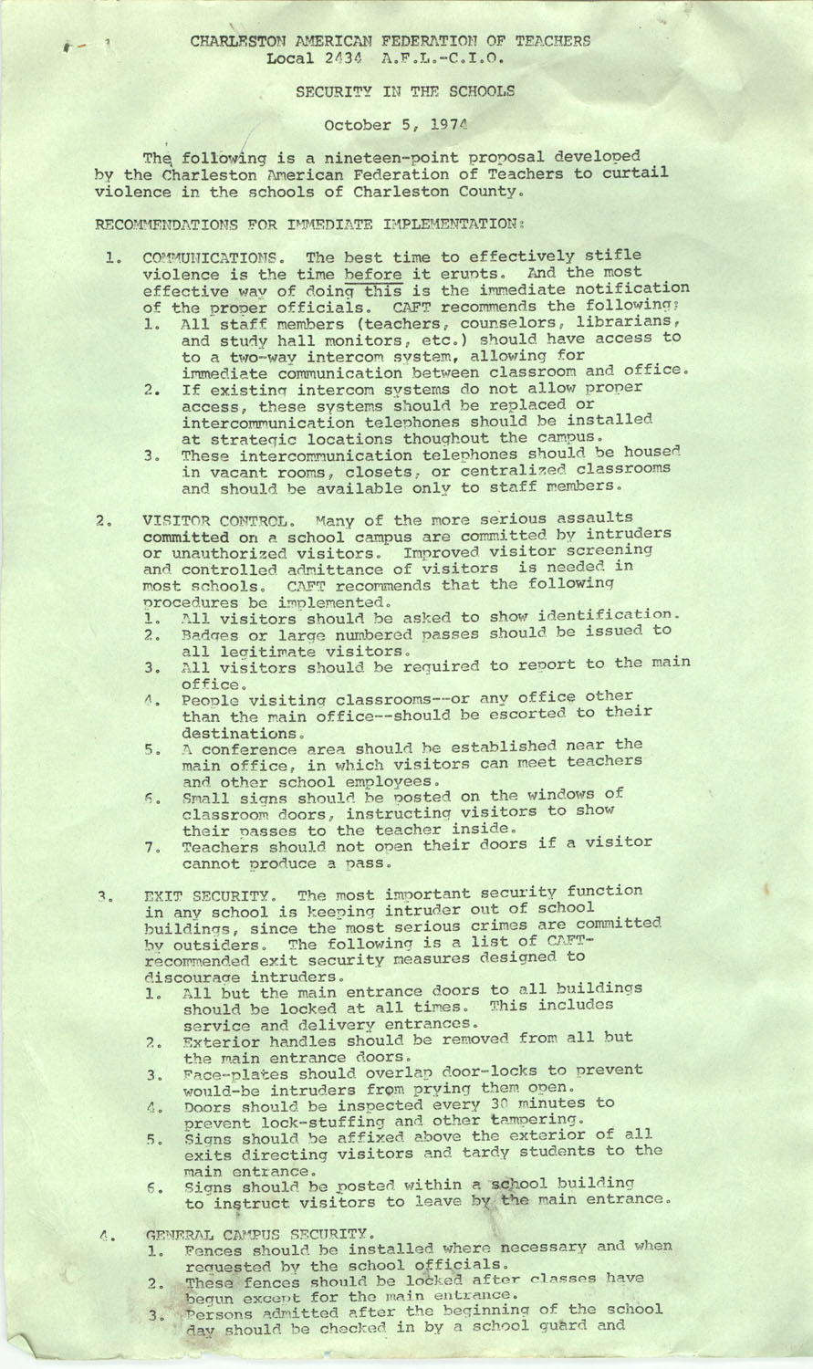 Charleston American Federation of Teachers, Security in the Schools Recommendations, October 5, 1974