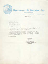 Letter from Rufus C. Barkley, Jr. to William Saunders, August 2, 1974