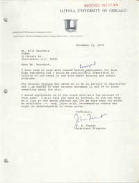 Letter from J. S. Fuerst to Bill Saunders, December 12, 1978
