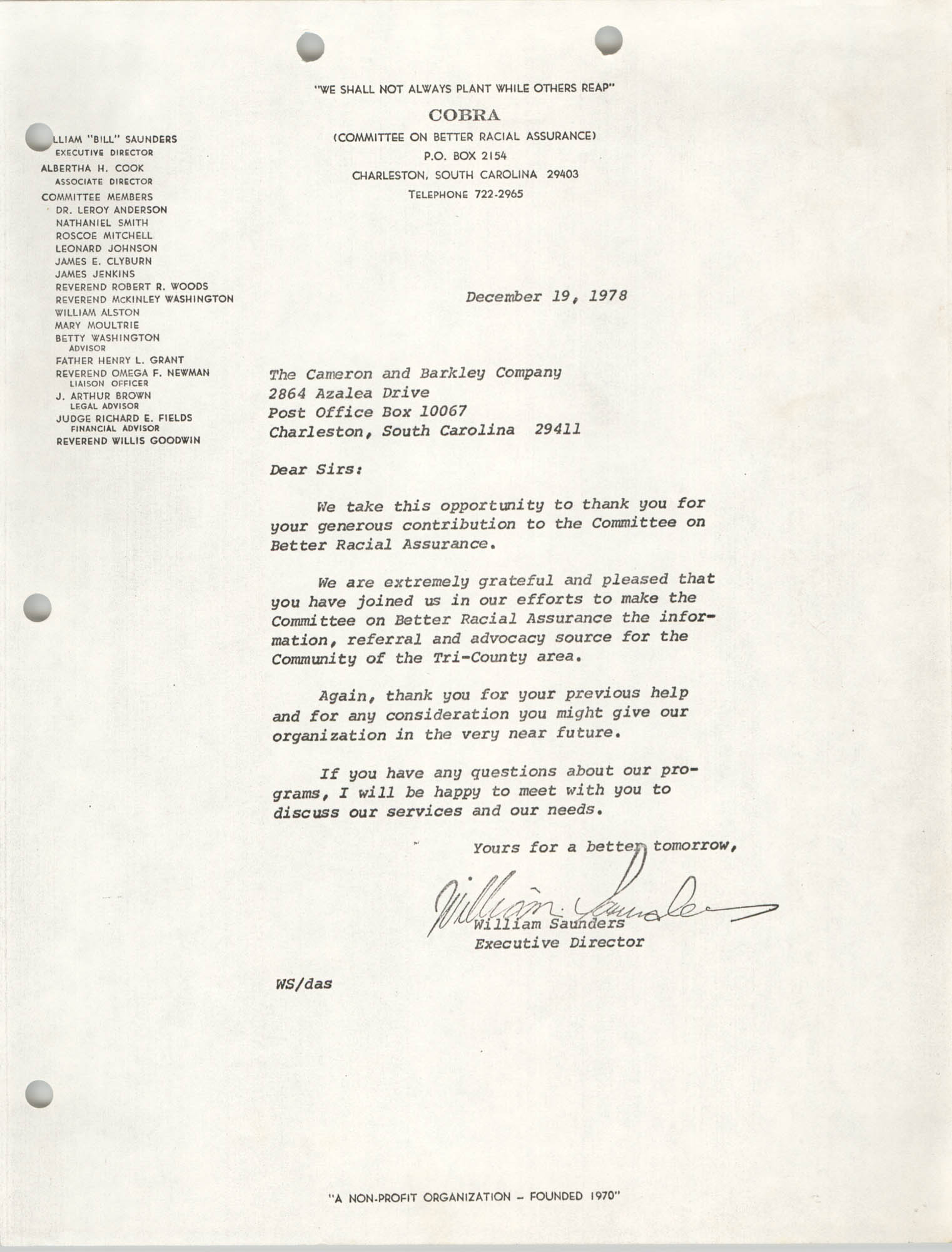 Letter from William Saunders to The Cameron and Barkley Company, December 19, 1978