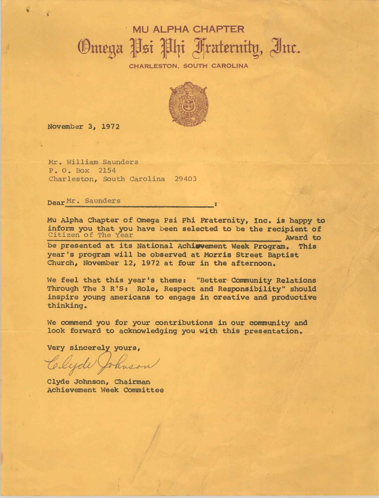 Letter from Clyde Johnson to William Saunders, November 3, 1972