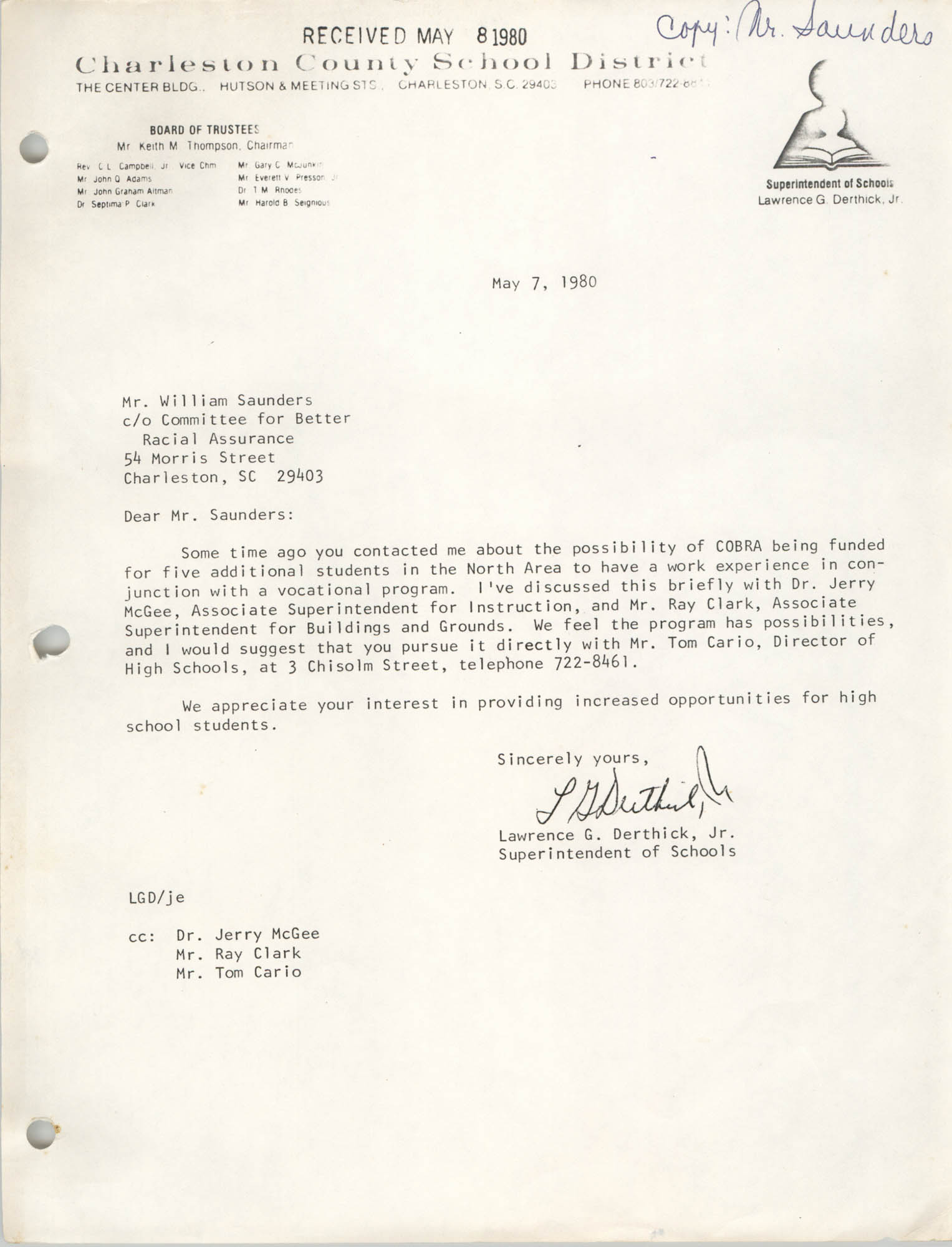 Letter from Lawrence G. Derthick, Jr. to William Saunders, May 7, 1980