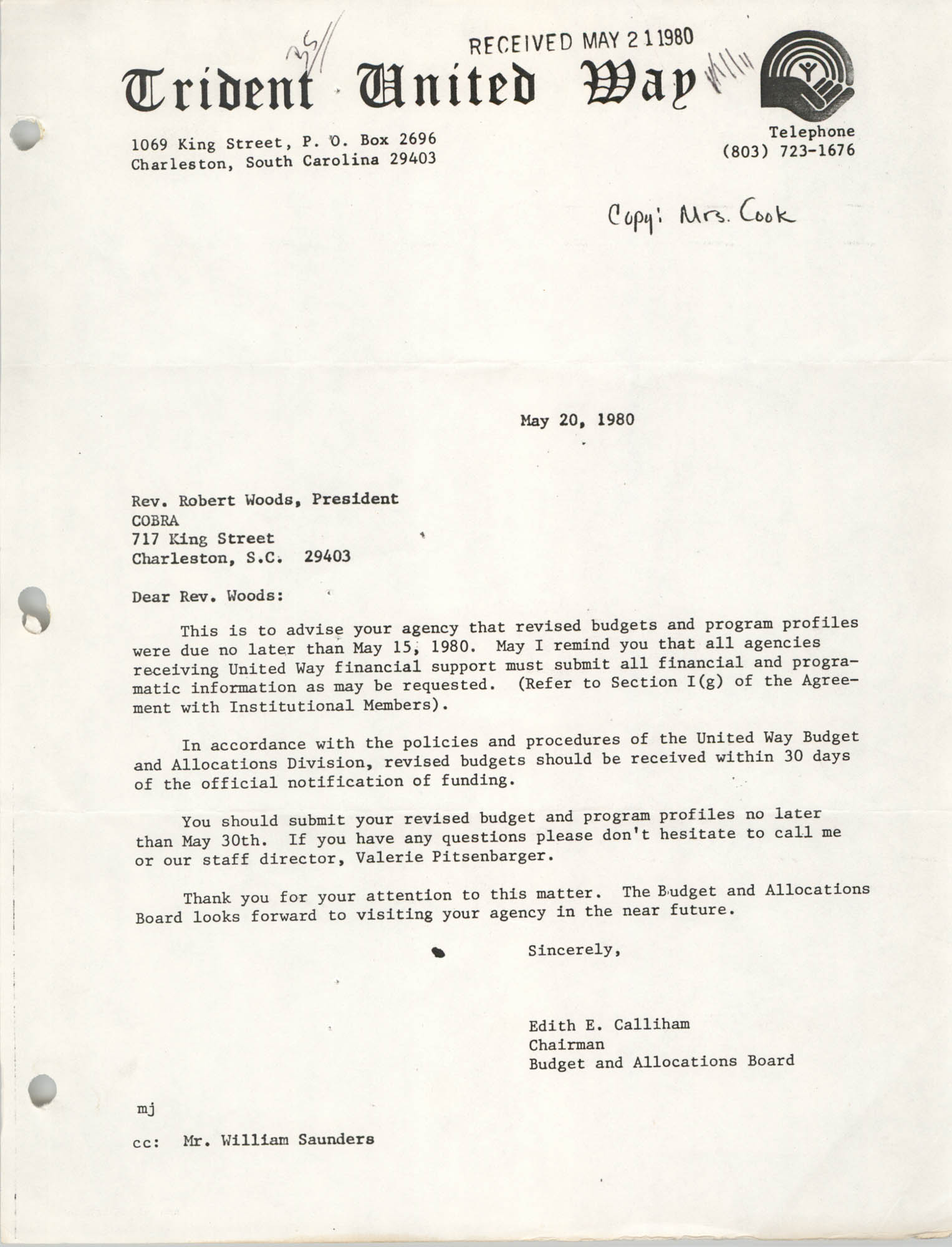 Letter from Edith E. Calliham to Robert Woods, May 20, 1980