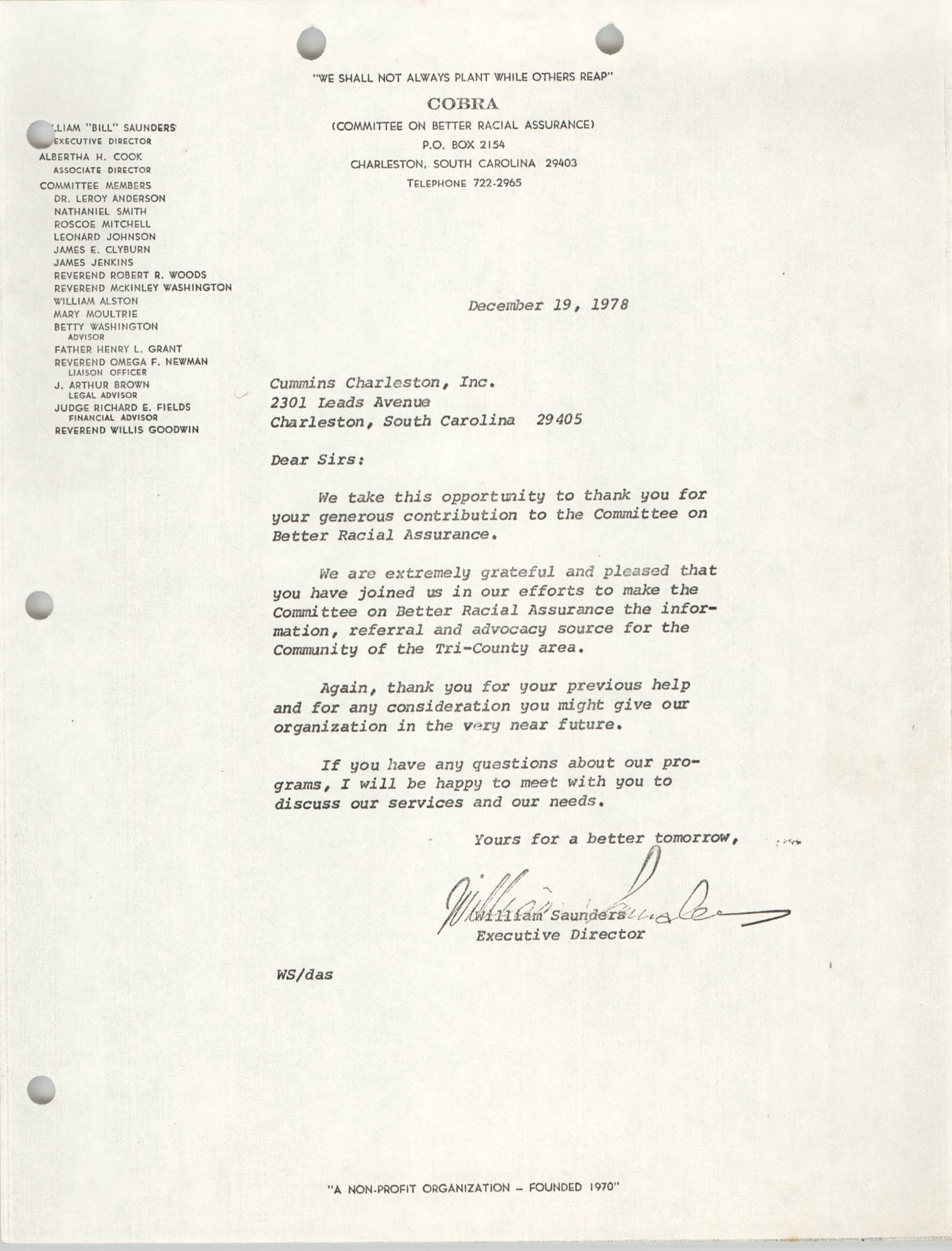 Letter from William Saunders to Cummins Charleston, Inc., December 19, 1978