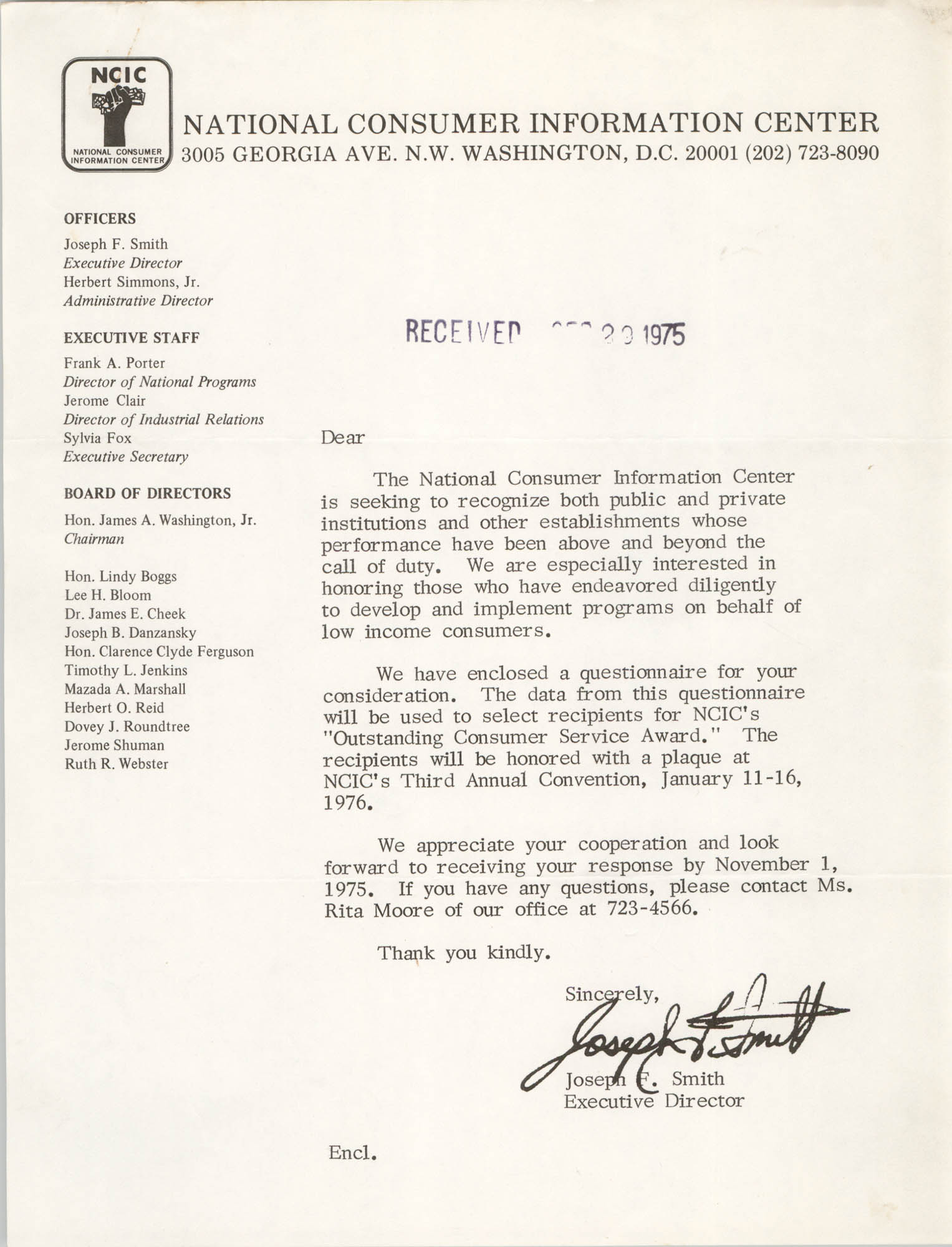 Letter from Joseph F. Smith, September 29, 1975