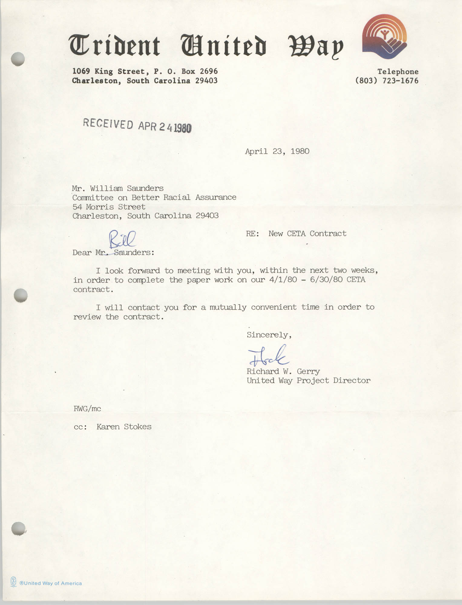 Letter from Richard W. Gerry to William Saunders, April 23, 1980