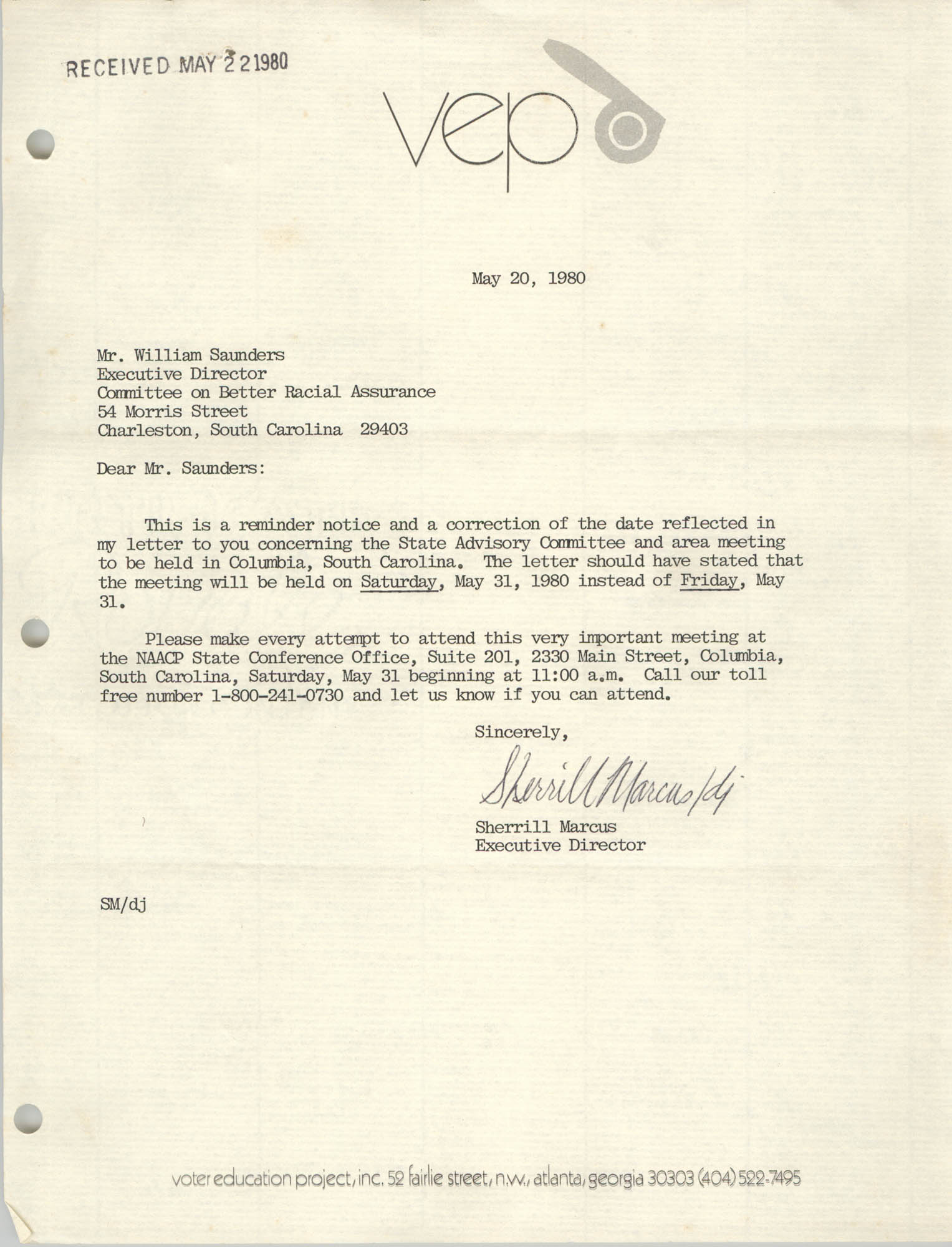 Letter from Sherrill Marcus to William Saunders, May 20, 1980