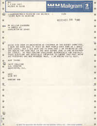 Mailgram from Fritz Hollings to William Saunders, June 9, 1980