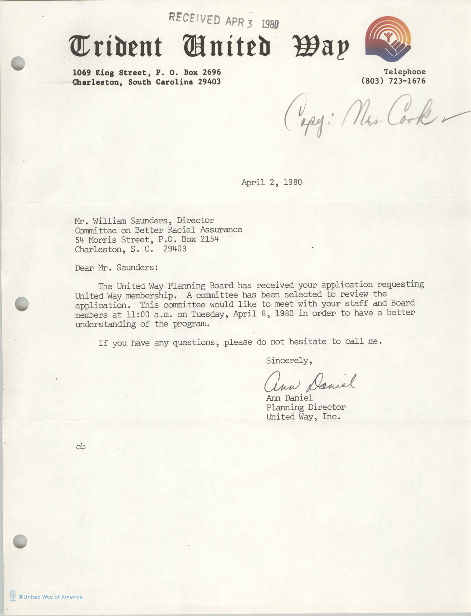 Letter from Ann Daniel to William Saunders, April 2, 1980