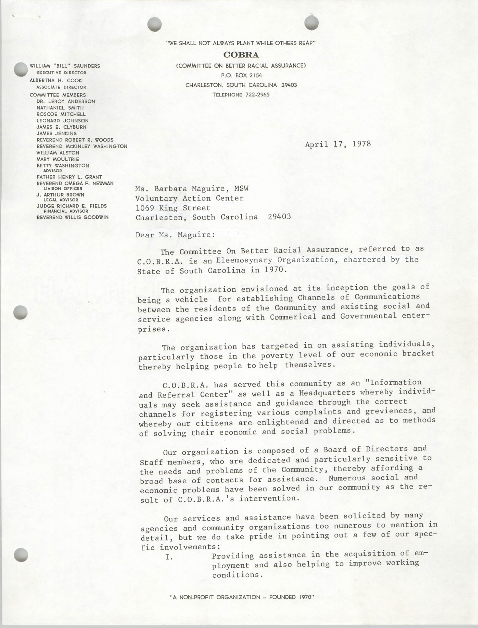 COBRA Memorandum, April 17, 1978
