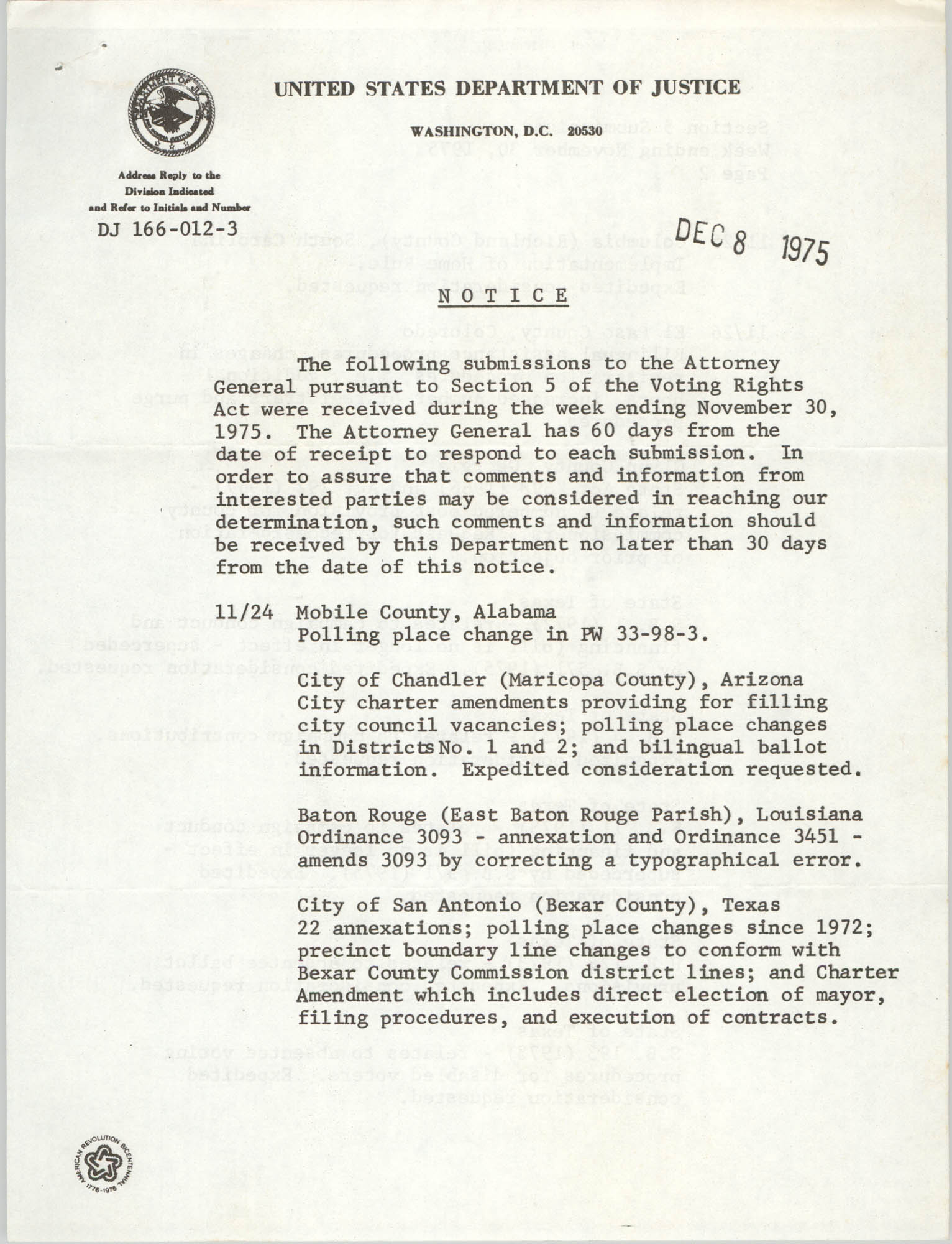 United States Department of Justice Notice, December 8, 1975