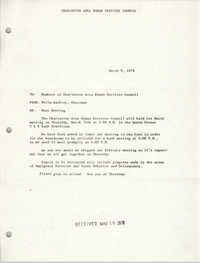 Charleston Area Human Services Council Memorandum, March 9, 1978