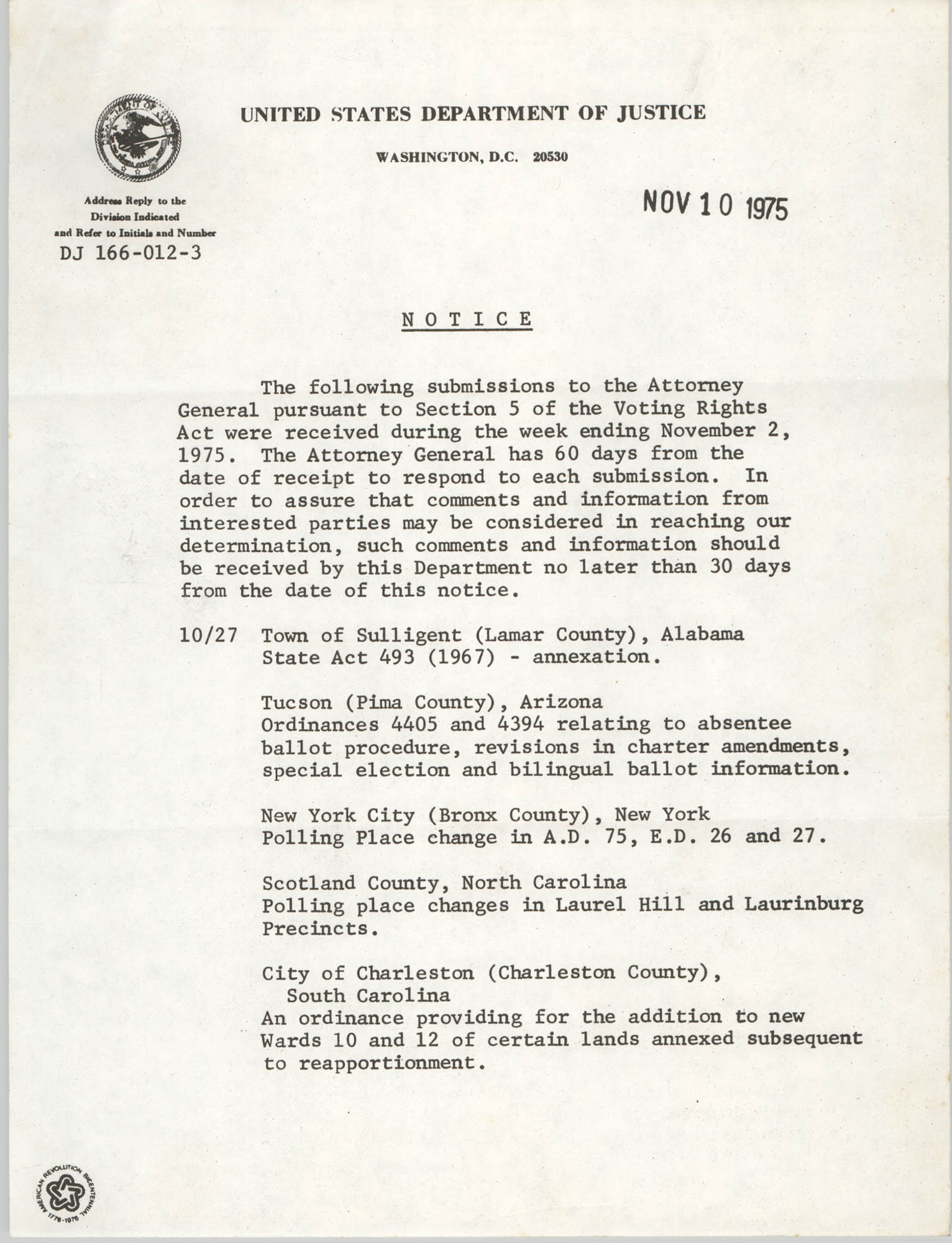 United States Department of Justice Notice, November 10, 1975