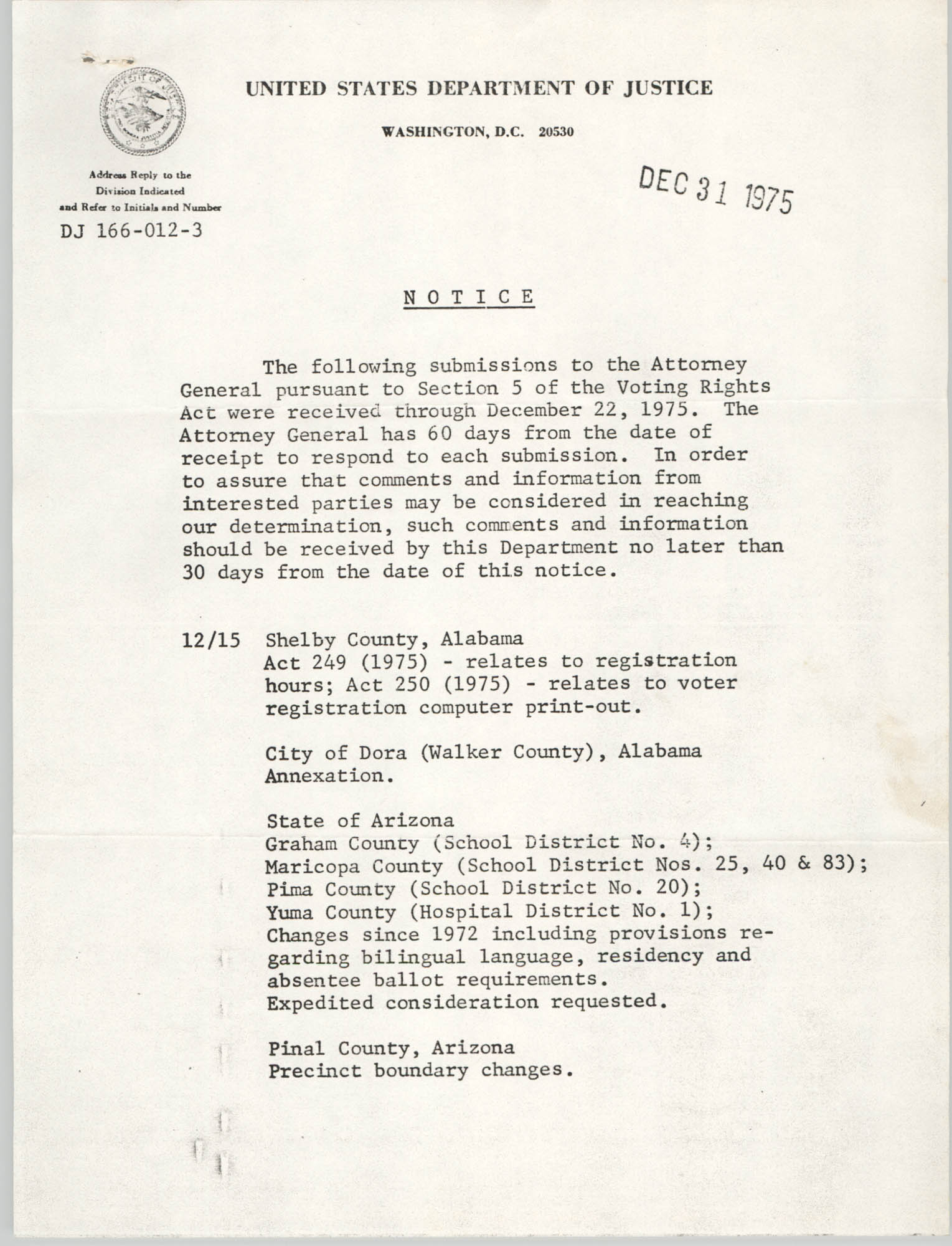 United States Department of Justice Notice, December 31, 1975