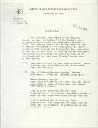 United States Department of Justice Notice, December 12, 1975