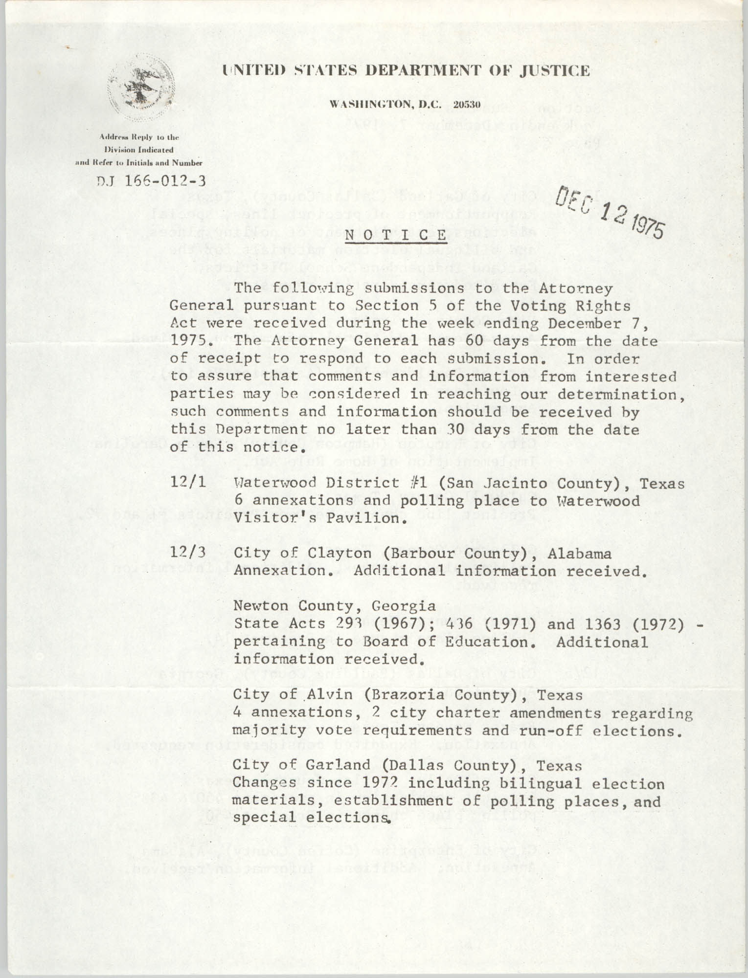 United States Department of Justice Notice, December 12, 1975