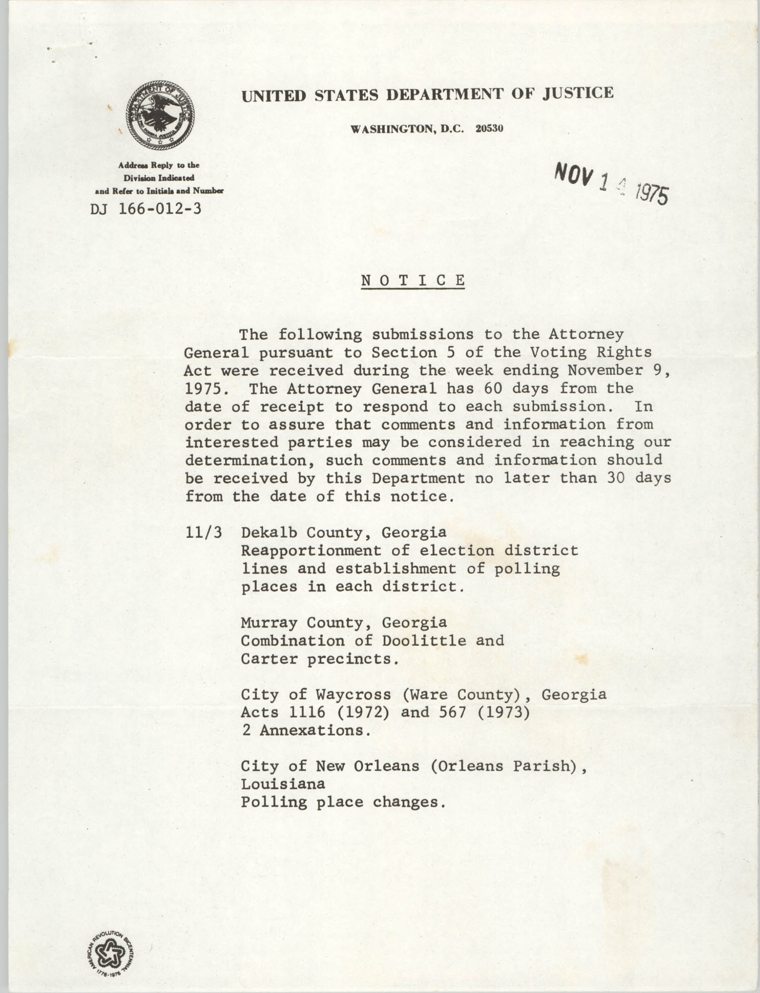 United States Department of Justice Notice, November 14, 1975