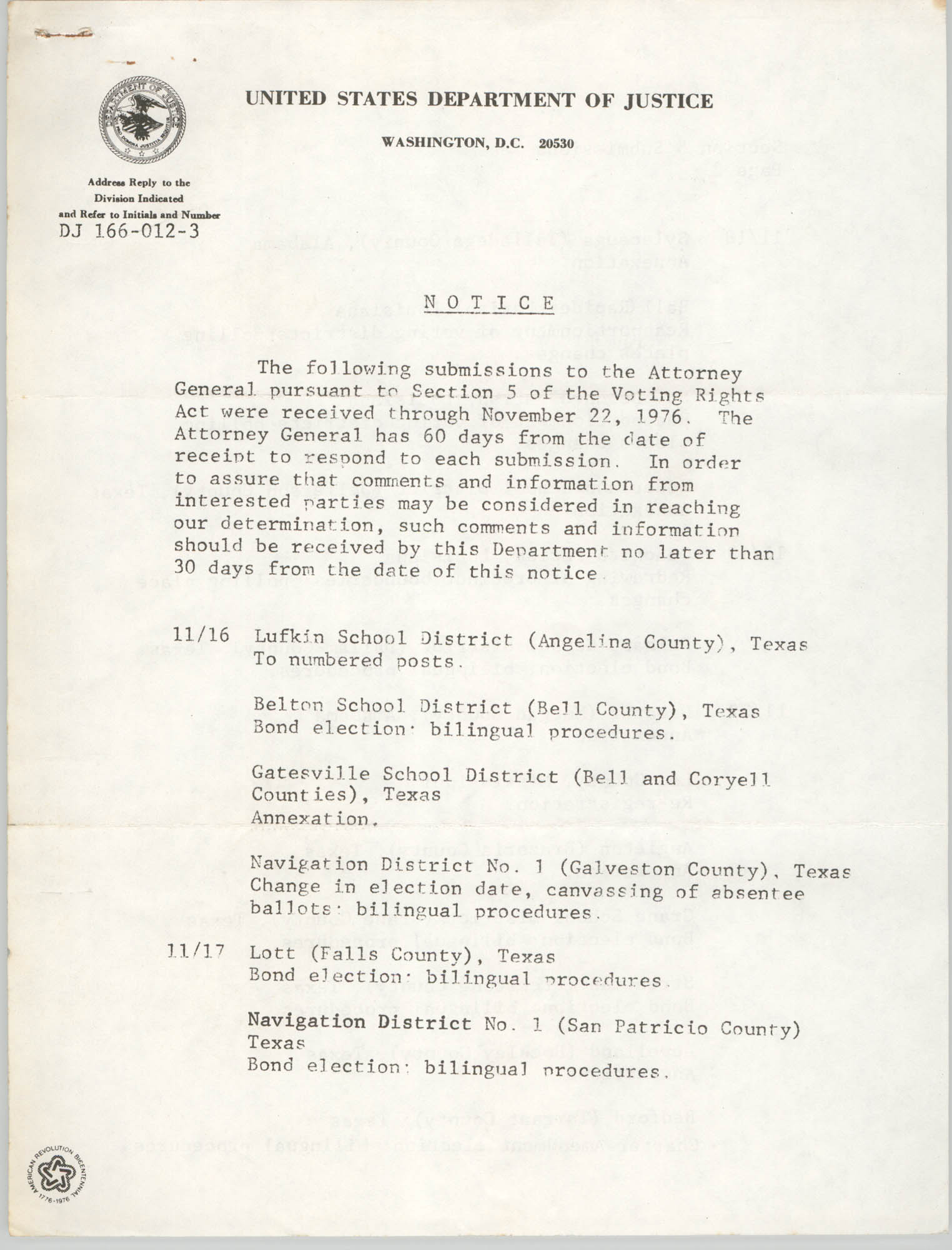 United States Department of Justice Notice, November 1975