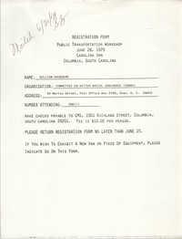 Registration Form for the Public Transportation Workshop, William Saunders