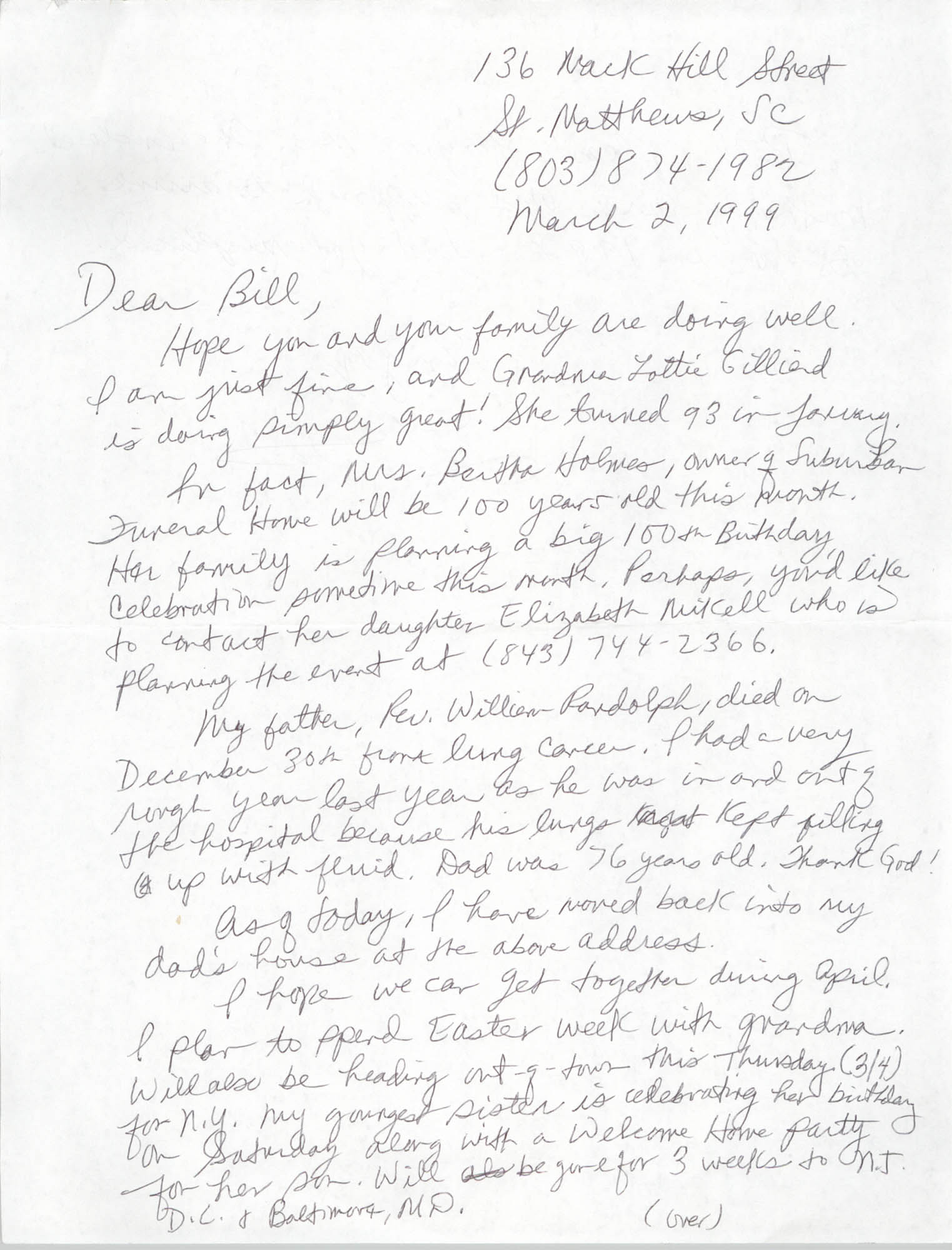 Letter from Malcolm D. Haven to William Saunders, March 2, 1999