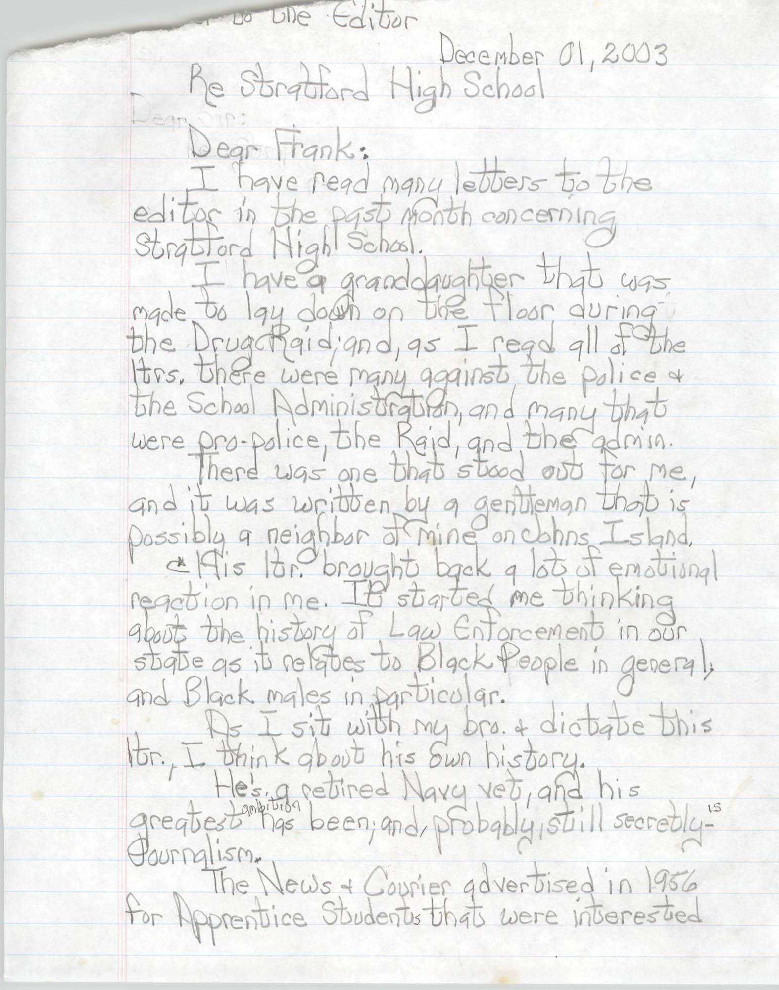 Letter to the Editor Regarding Stratford High School