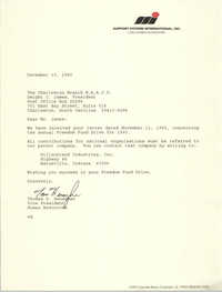Letter from Thomas D. Heneghan to Dwight C. James, December 13, 1993
