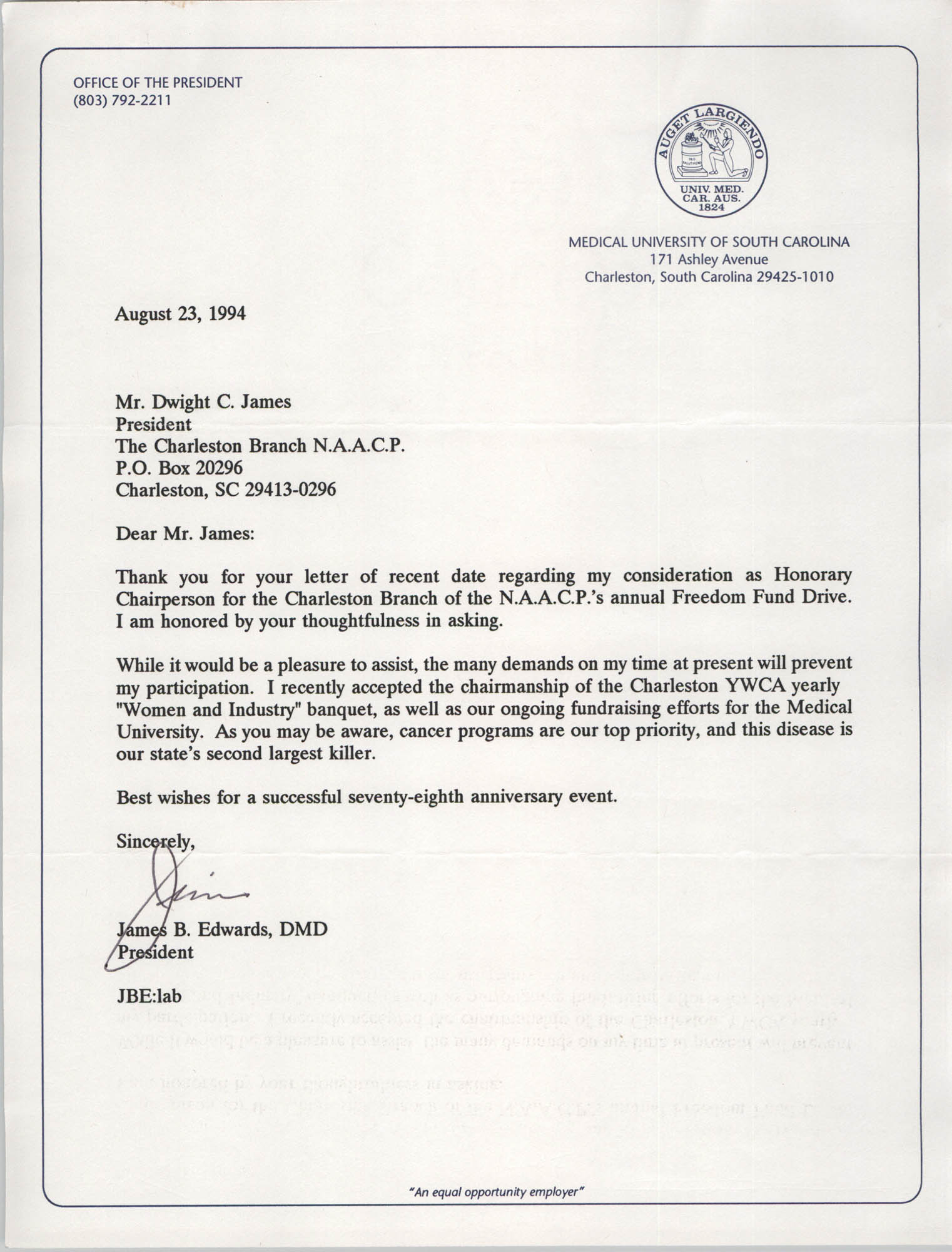 Letter from James B. Edwards to Dwight C. James, August 23, 1994