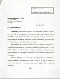 Charleston Branch of the NAACP 1992 Freedom Fund Drive, For Immediate Release