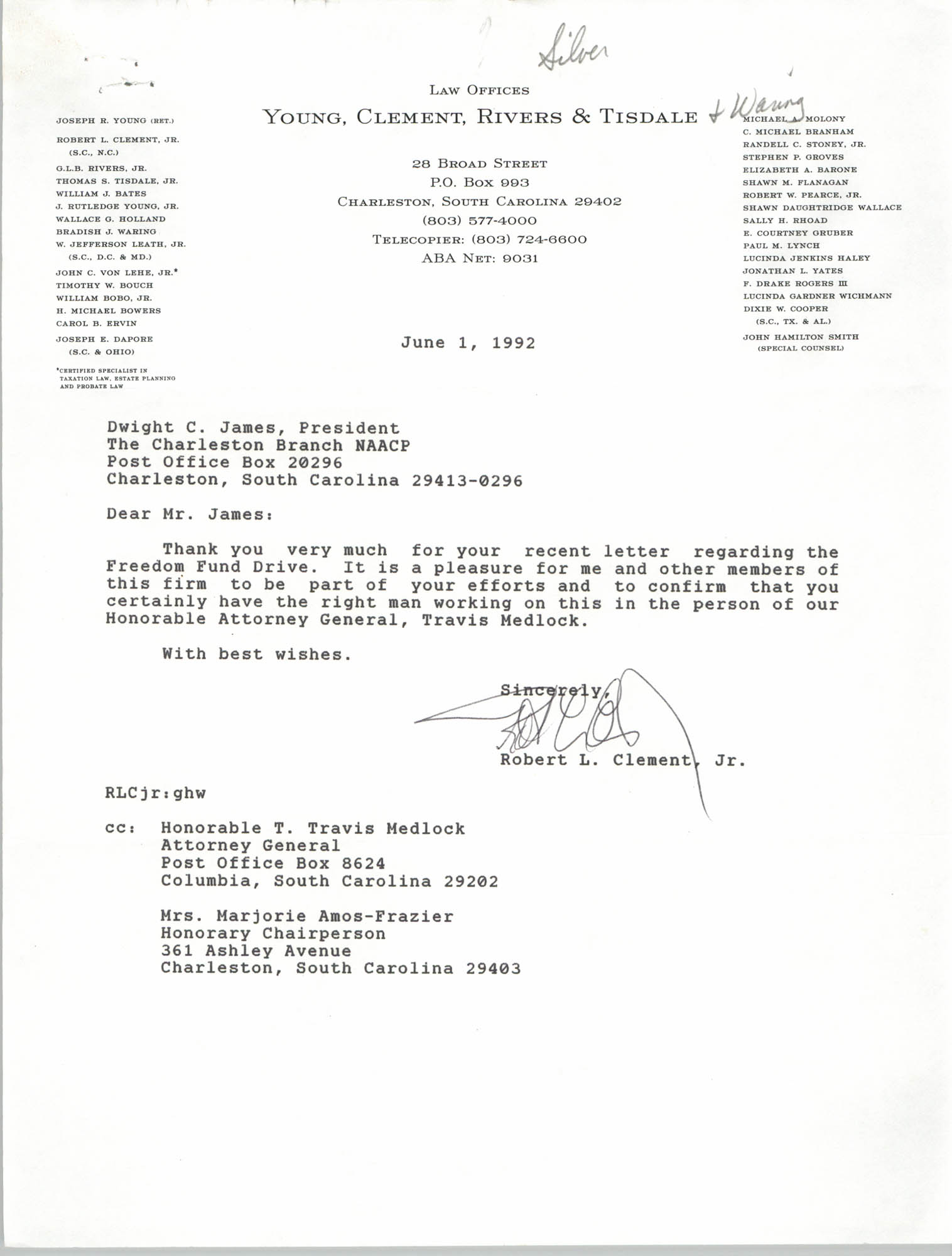 Letter from Robert L. Clement, Jr. to Dwight C. James, June 1, 1992