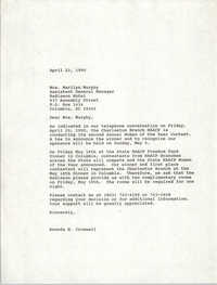 Letter from Brenda H. Cromwell to Marilyn Murphy, April 23, 1990