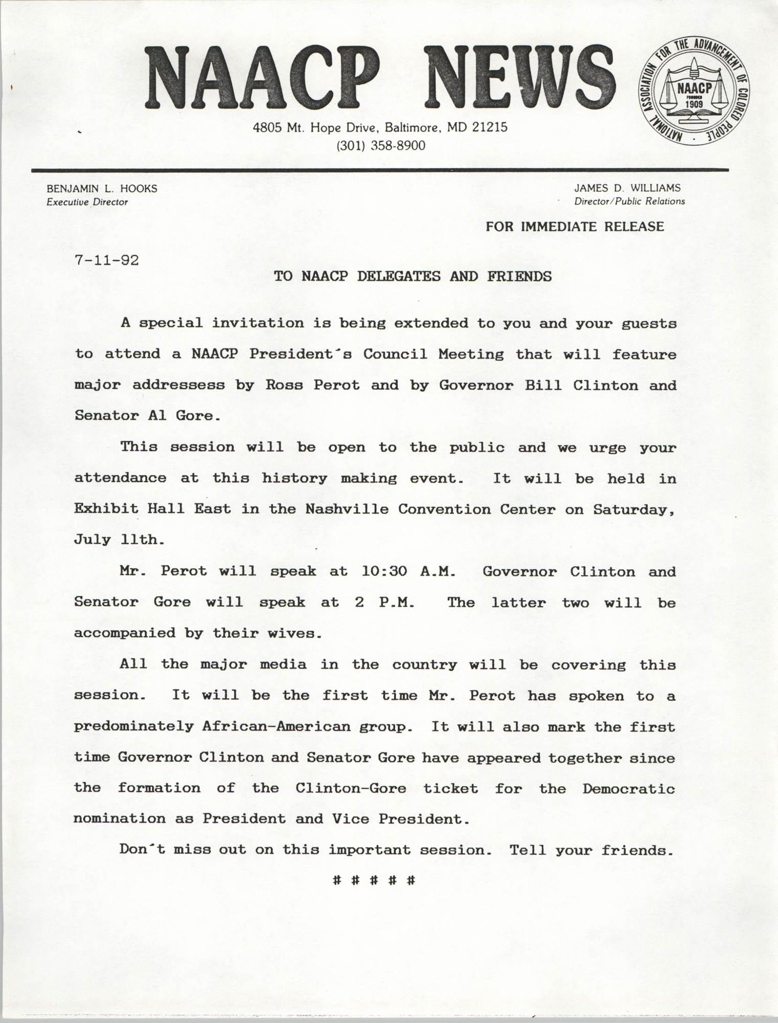 NAACP News, July 11, 1992