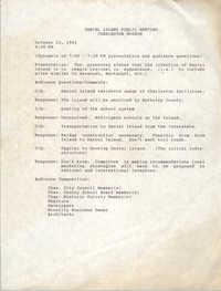 Daniel Island Public Meeting Minutes, October 15, 1991