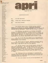Memorandum, A. Philip Randolph Institute, August 10, 1979