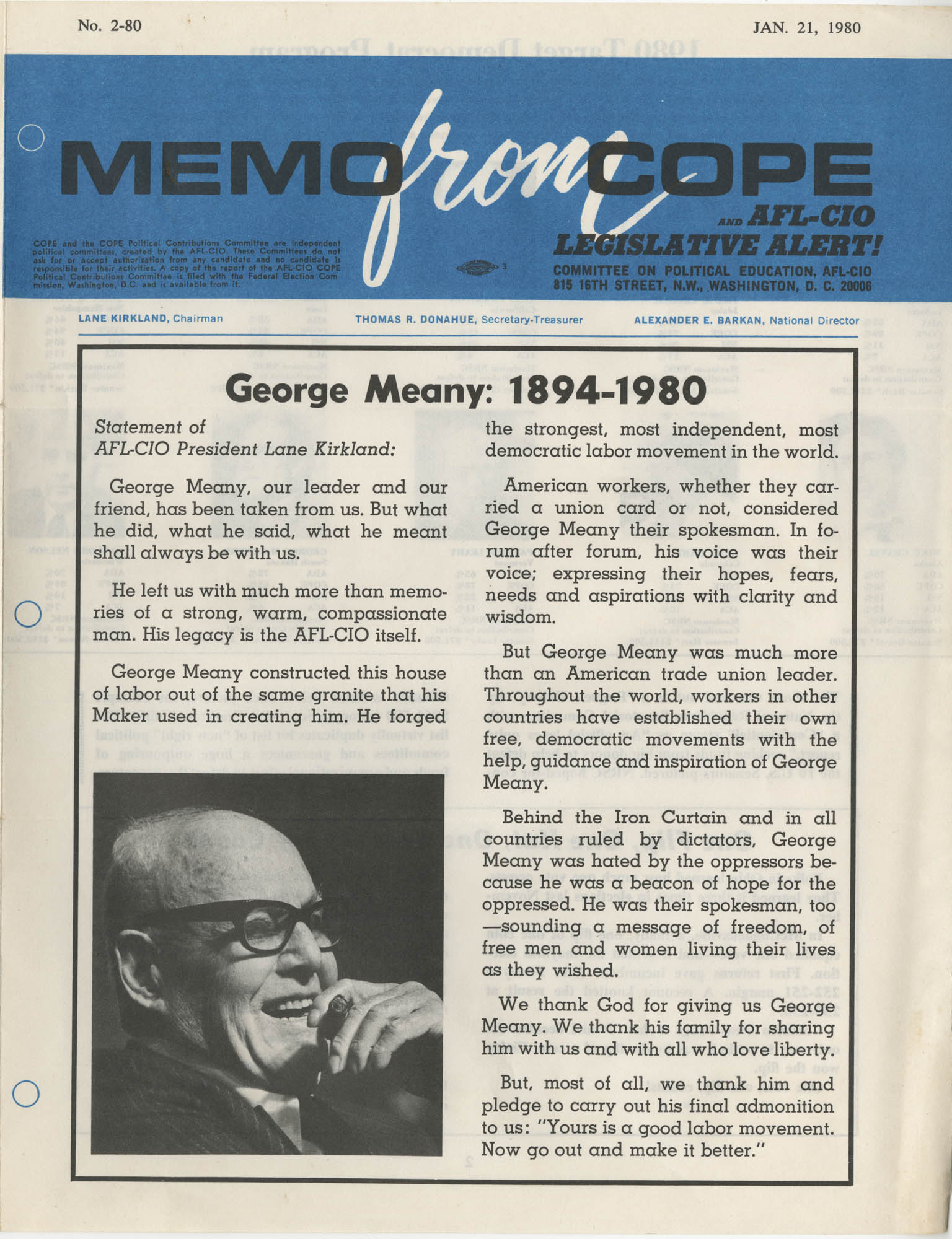 Memo From Cope, No. 2-80, January 21, 1980