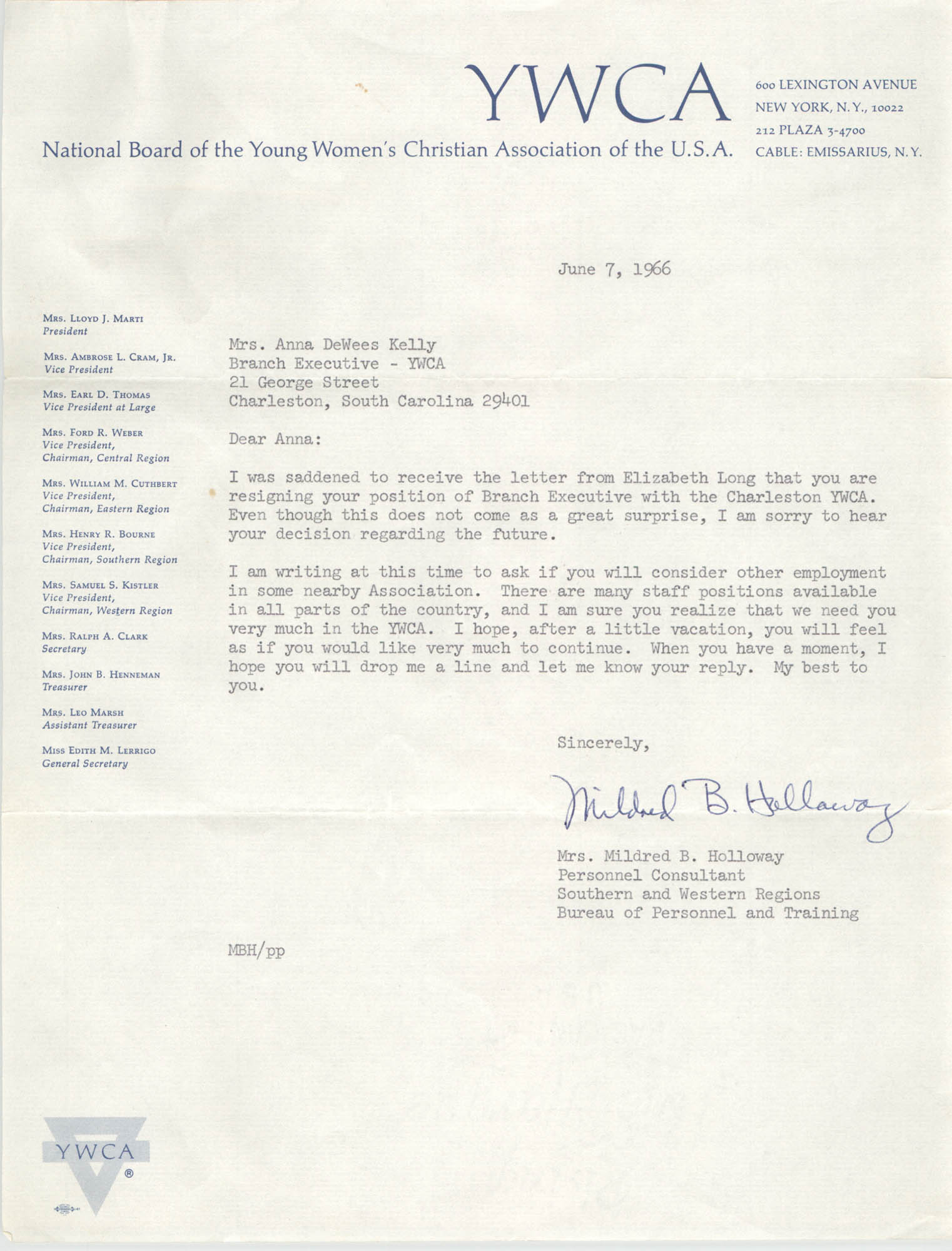 Letter from Mildred B. Holloway to Anna D. Kelly, June 7, 1966