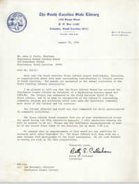 Letter from Betty E. Callahan to Anna D. Kelly, August 20, 1984