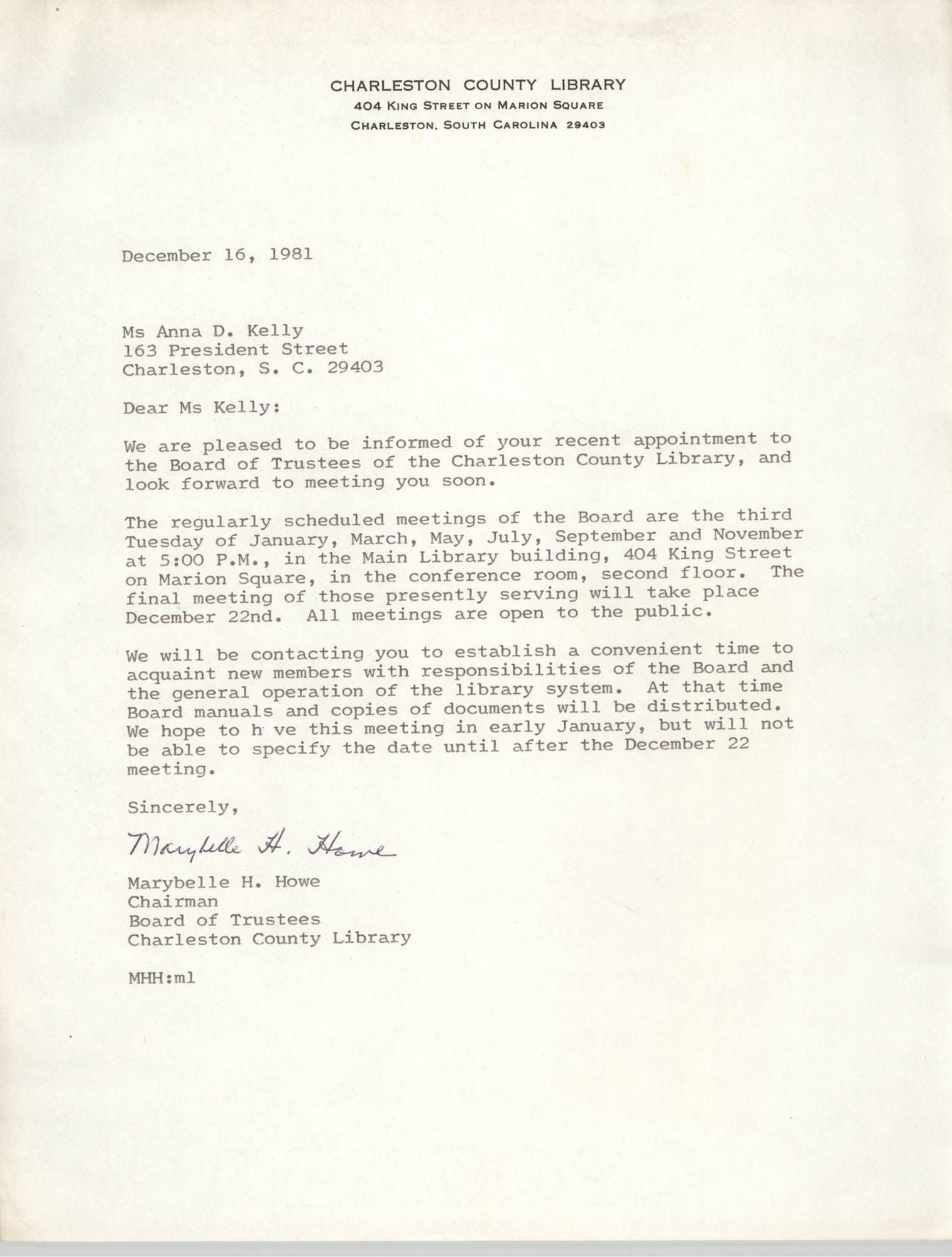 Letter from Marybelle H. Howe to Anna D. Kelly, December 16, 1981