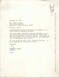Letter from Donald L. Fowler to Anna D. Kelly, November 30, 1973
