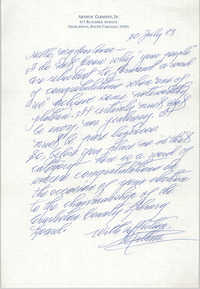 Letter from Arthur Clement, Jr. to Anna D. Kelly, July 30, 1983