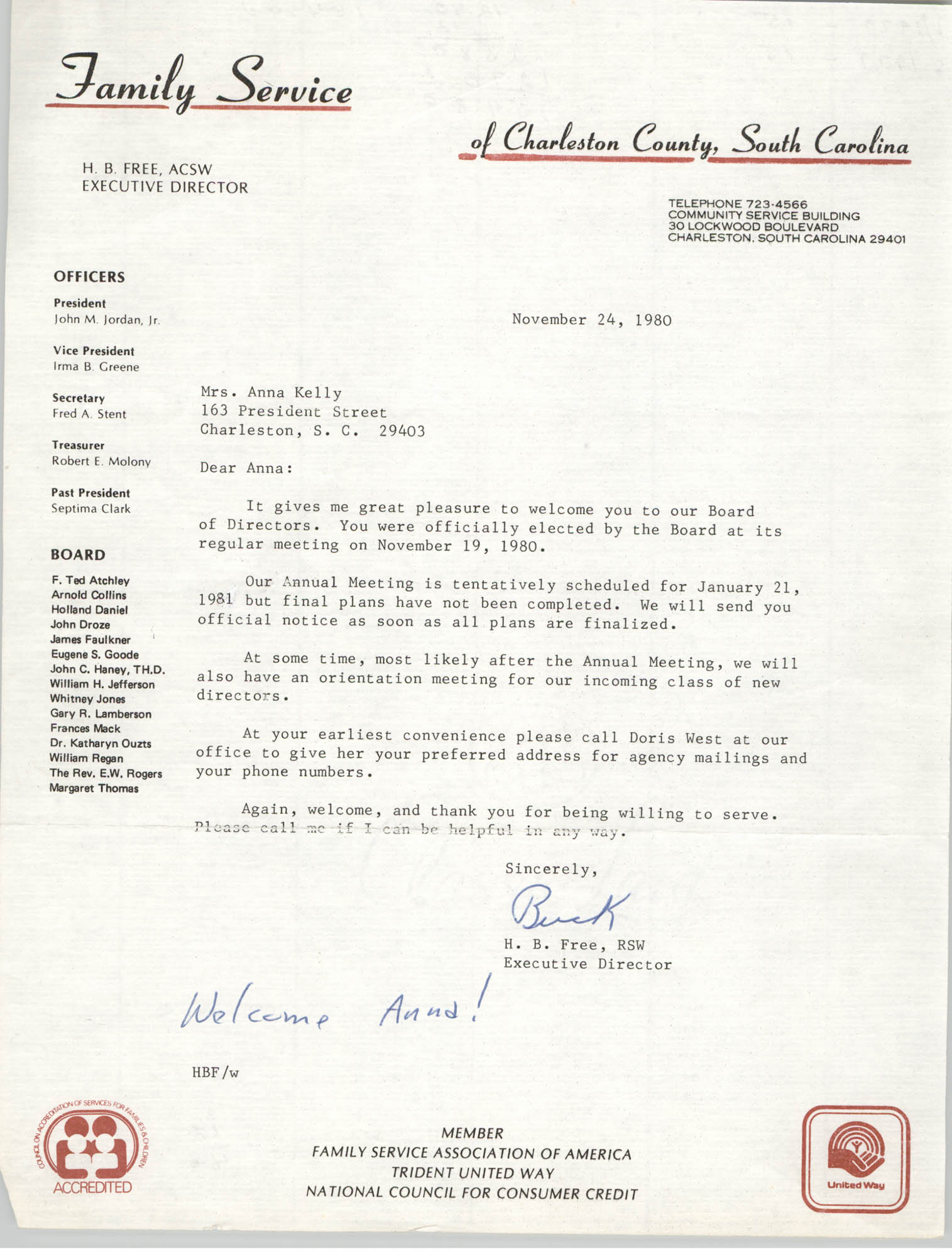 Letter from H. B. Free to Anna D. Kelly, November 24, 1980