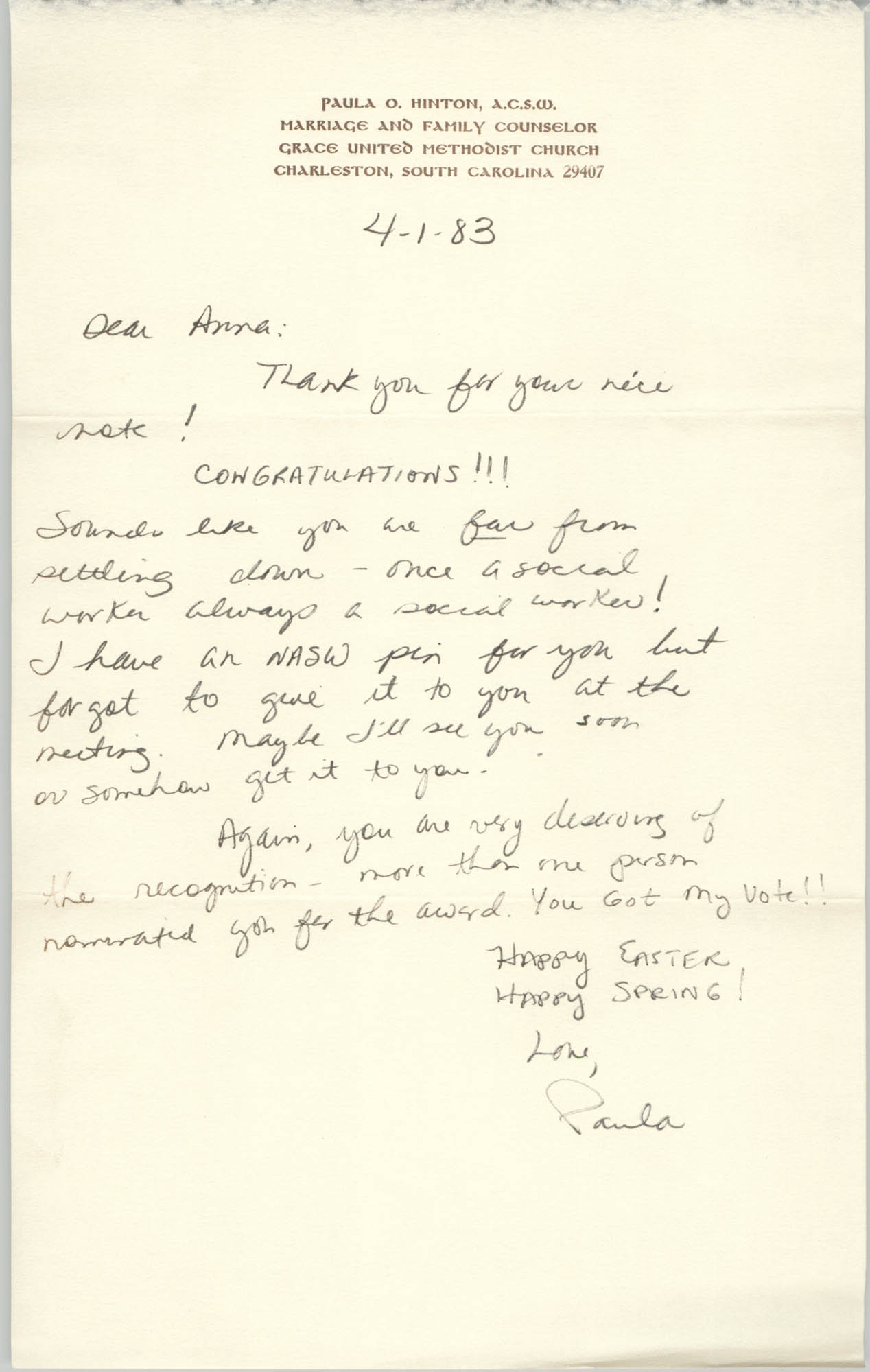 Letter from Paula O. Hinton to Anna D. Kelly, April 1, 1983