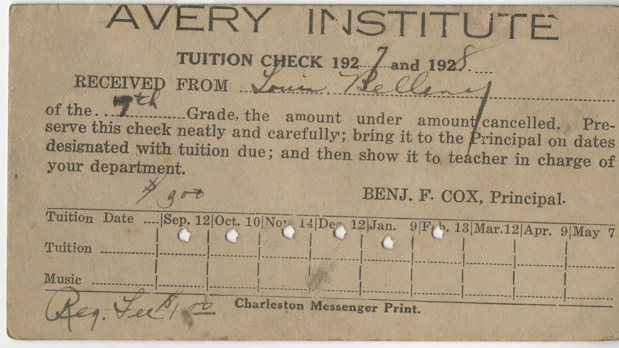 Avery Institute Tuition Check Received from Louis Belleny