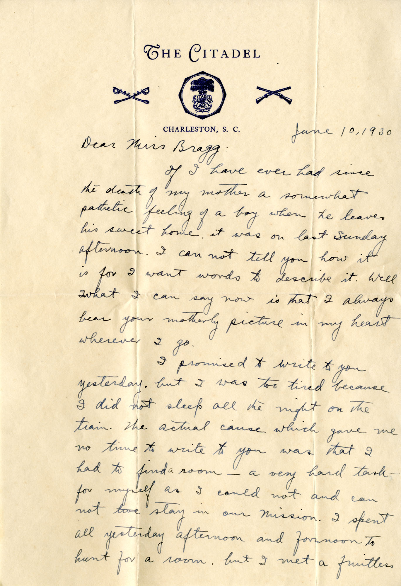 Letter from Fong Lee Wong to Laura M. Bragg June 10, 1930