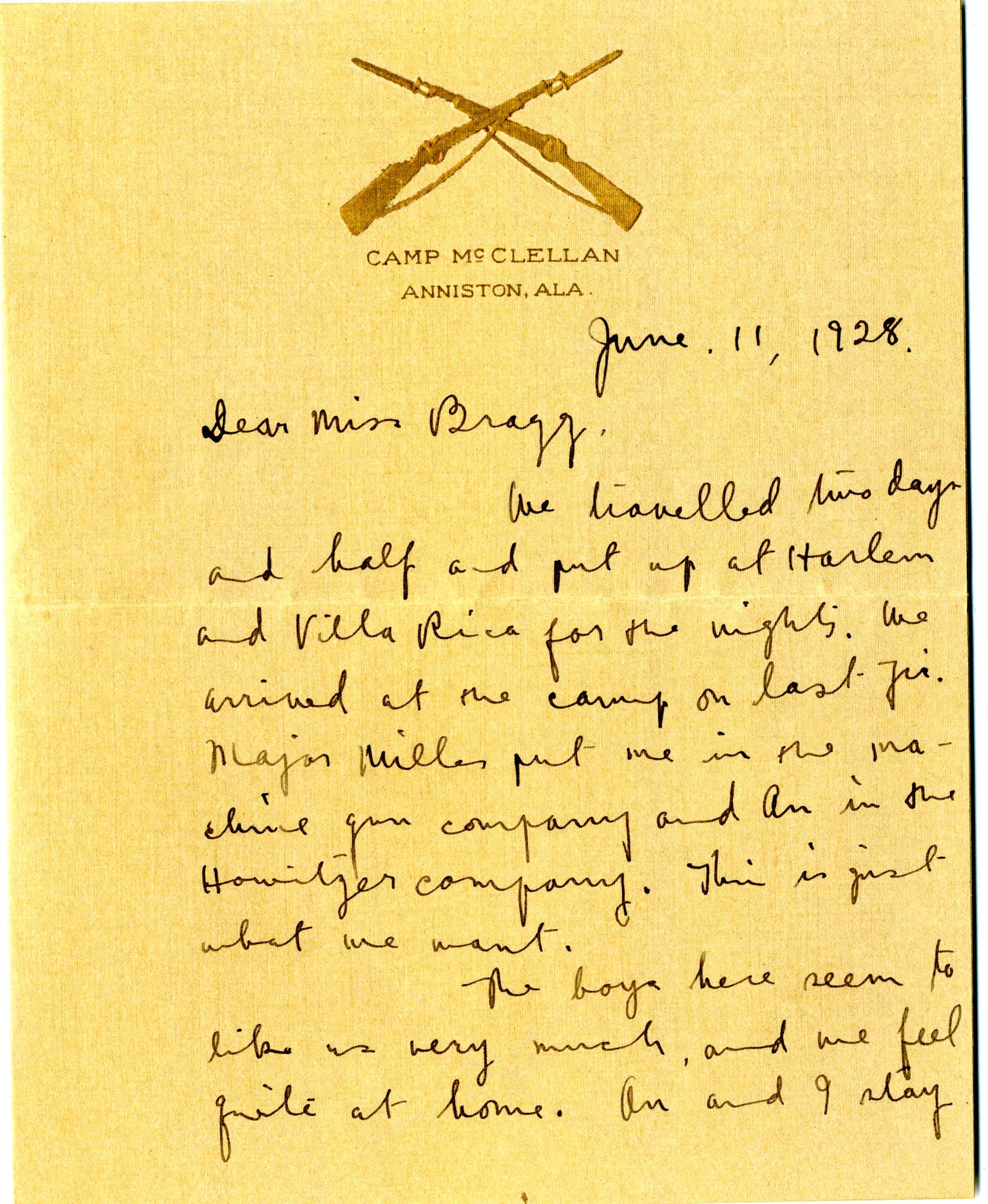 Letter from C.C. Tseng to Laura M. Bragg, June 11, 1928