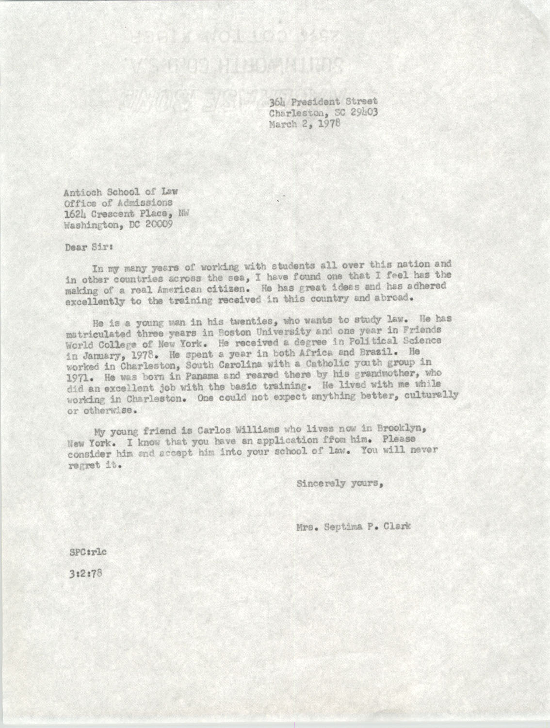 Letter from Antioch School of Law to Septima P. Clark, March 2, 1978