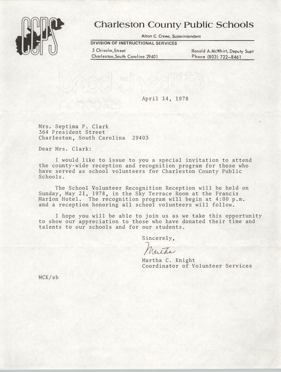 Letter from Martha C. Knight to Septima P. Clark, April 14, 1978